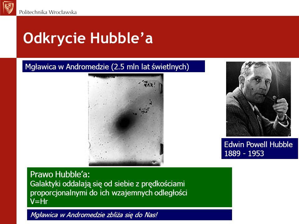 Odkrycie Hubblea Edwin Powell Hubble 1889 - 1953 Mgławica w Andromedzie (2.5 mln lat świetlnych) Prawo Hubblea: Galaktyki oddalają się od siebie z prę