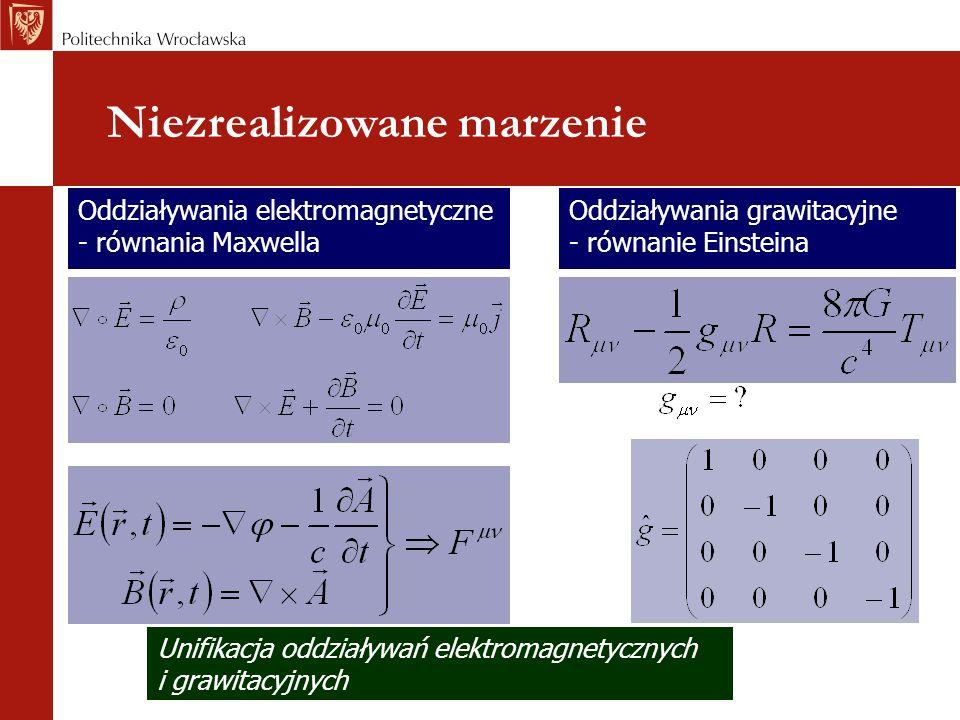 Niezrealizowane marzenie Oddziaływania grawitacyjne - równanie Einsteina Oddziaływania elektromagnetyczne - równania Maxwella Unifikacja oddziaływań e