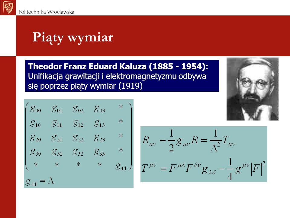 Piąty wymiar Theodor Franz Eduard Kaluza (1885 - 1954): Unifikacja grawitacji i elektromagnetyzmu odbywa się poprzez piąty wymiar (1919)
