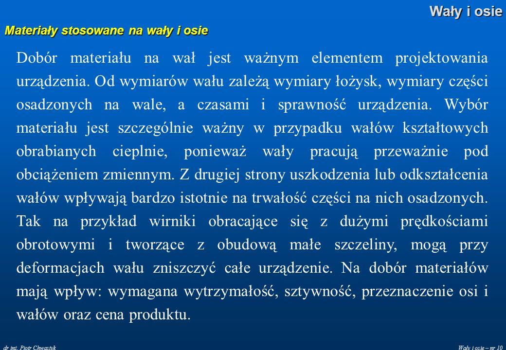 Wały i osie – nr 10 Wały i osie dr inż. Piotr Chwastyk Materiały stosowane na wały i osie Dobór materiału na wał jest ważnym elementem projektowania u