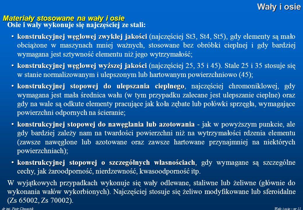 Wały i osie – nr 11 Wały i osie dr inż. Piotr Chwastyk Materiały stosowane na wały i osie Osie i wały wykonuje się najczęściej ze stali: konstrukcyjne