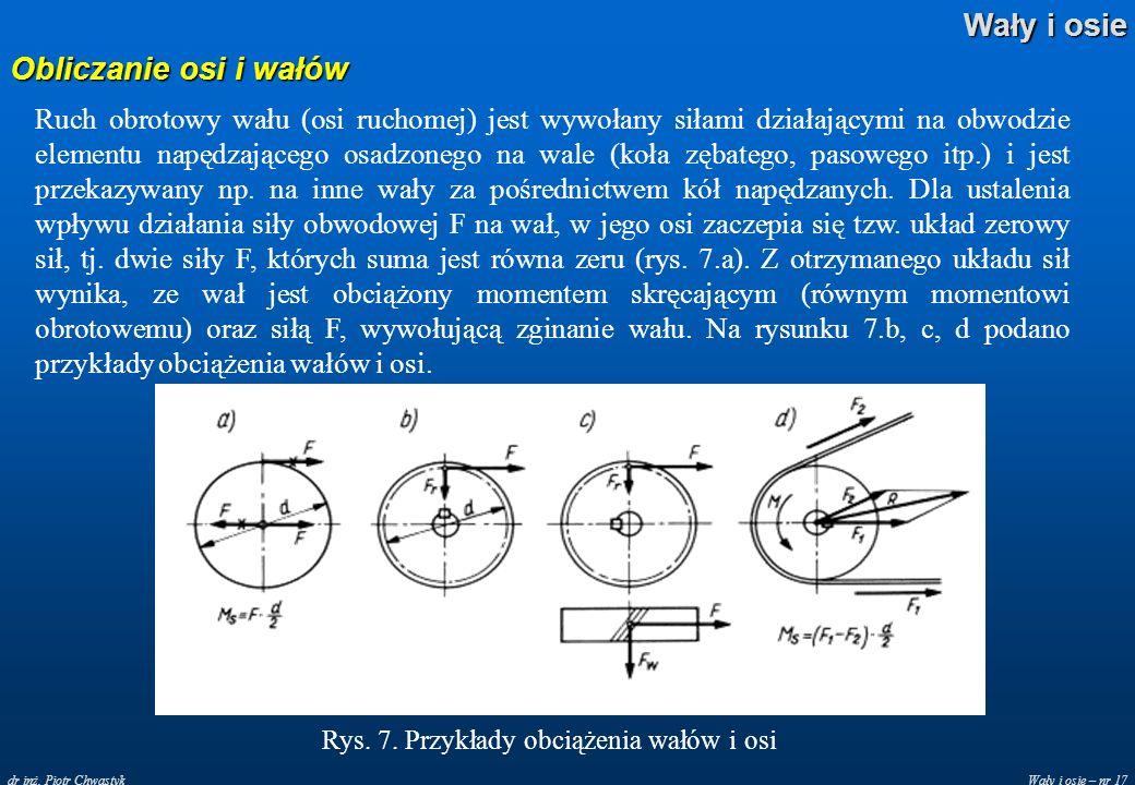 Wały i osie – nr 17 Wały i osie dr inż. Piotr Chwastyk Obliczanie osi i wałów Ruch obrotowy wału (osi ruchomej) jest wywołany siłami działającymi na o