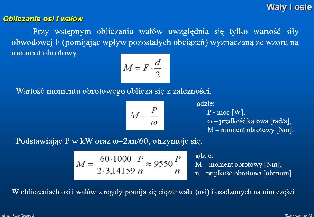 Wały i osie – nr 18 Wały i osie dr inż. Piotr Chwastyk Obliczanie osi i wałów Przy wstępnym obliczaniu wałów uwzględnia się tylko wartość siły obwodow