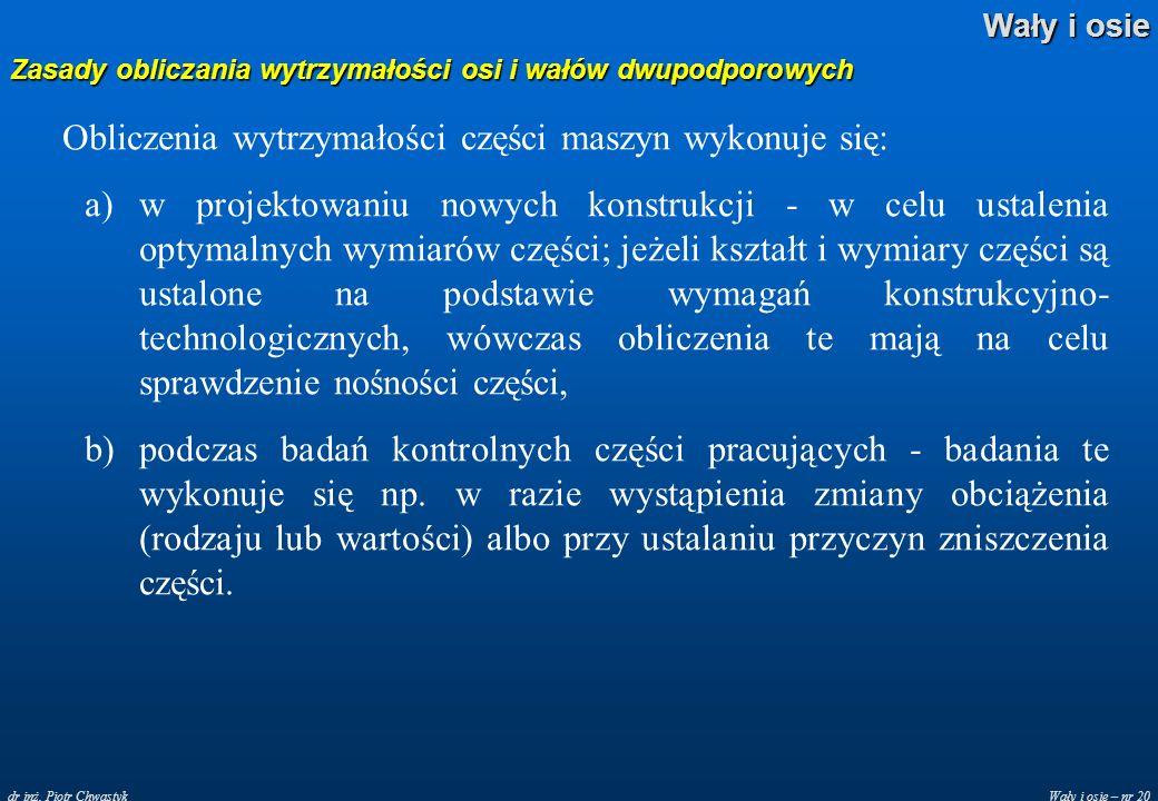 Wały i osie – nr 20 Wały i osie dr inż. Piotr Chwastyk Zasady obliczania wytrzymałości osi i wałów dwupodporowych Obliczenia wytrzymałości części masz