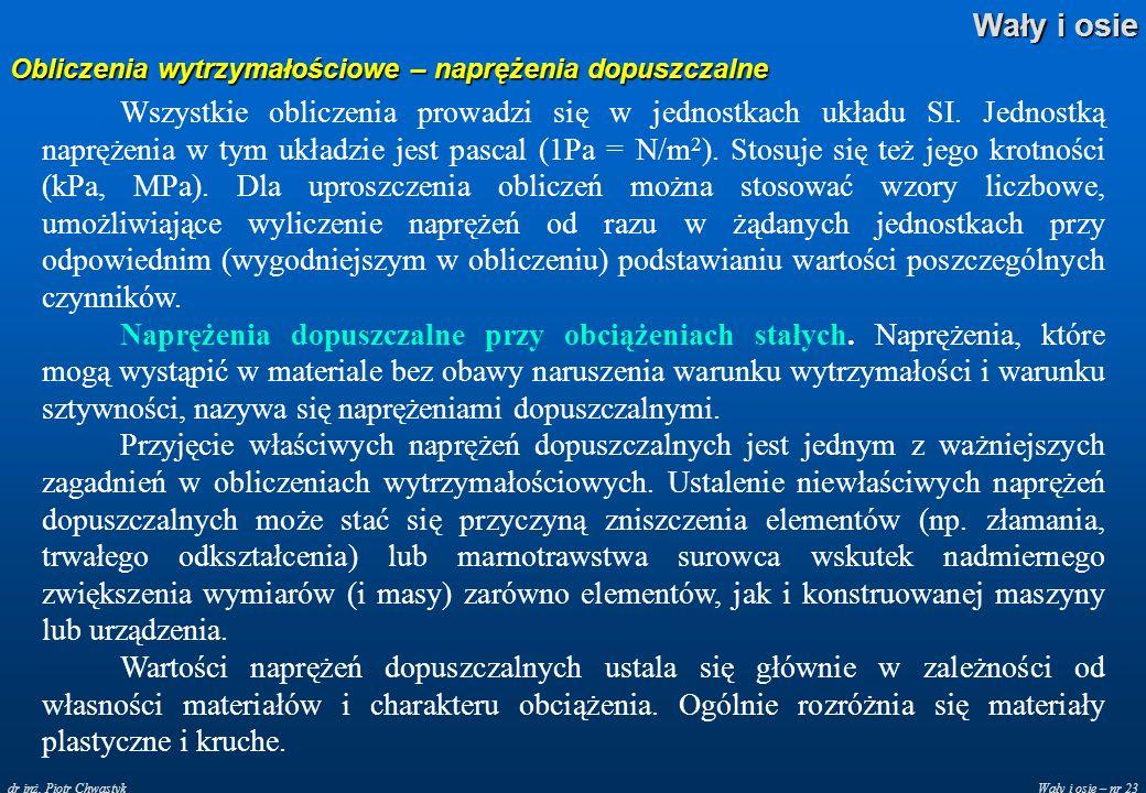 Wały i osie – nr 23 Wały i osie dr inż. Piotr Chwastyk Obliczenia wytrzymałościowe – naprężenia dopuszczalne Wszystkie obliczenia prowadzi się w jedno