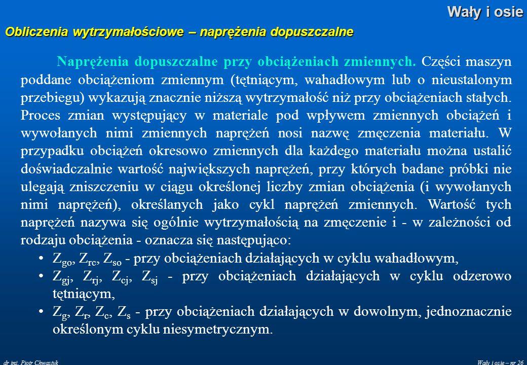 Wały i osie – nr 26 Wały i osie dr inż. Piotr Chwastyk Obliczenia wytrzymałościowe – naprężenia dopuszczalne Naprężenia dopuszczalne przy obciążeniach