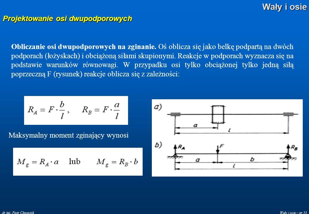 Wały i osie – nr 33 Wały i osie dr inż. Piotr Chwastyk Projektowanie osi dwupodporowych Obliczanie osi dwupodporowych na zginanie. Oś oblicza się jako
