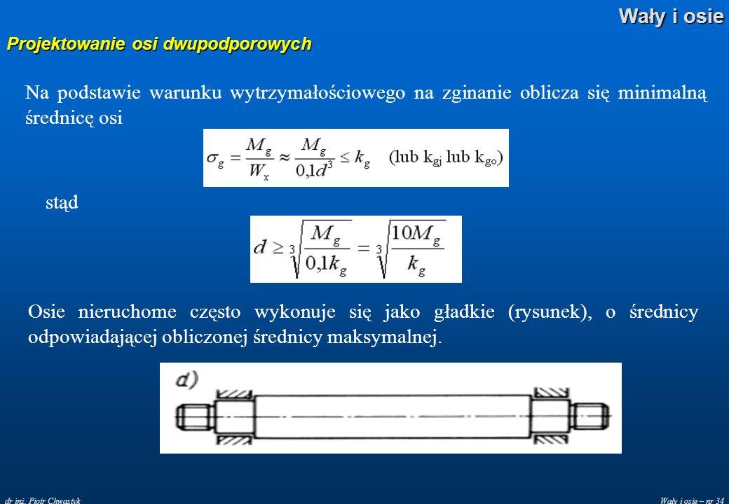 Wały i osie – nr 34 Wały i osie dr inż. Piotr Chwastyk Projektowanie osi dwupodporowych Na podstawie warunku wytrzymałościowego na zginanie oblicza si