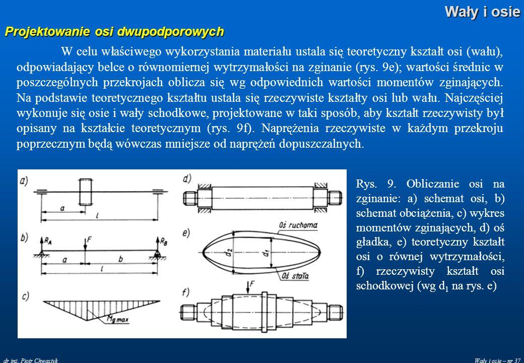Wały i osie – nr 37 Wały i osie dr inż. Piotr Chwastyk Projektowanie osi dwupodporowych W celu właściwego wykorzystania materiału ustala się teoretycz
