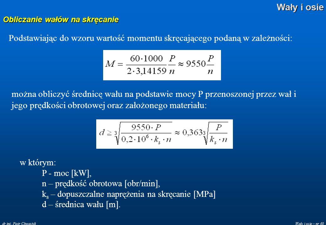 Wały i osie – nr 40 Wały i osie dr inż. Piotr Chwastyk Obliczanie wałów na skręcanie Podstawiając do wzoru wartość momentu skręcającego podaną w zależ