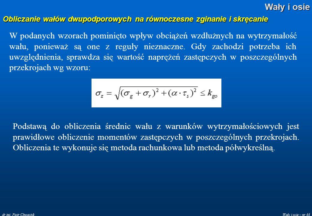 Wały i osie – nr 44 Wały i osie dr inż. Piotr Chwastyk Obliczanie wałów dwupodporowych na równoczesne zginanie i skręcanie W podanych wzorach pominięt
