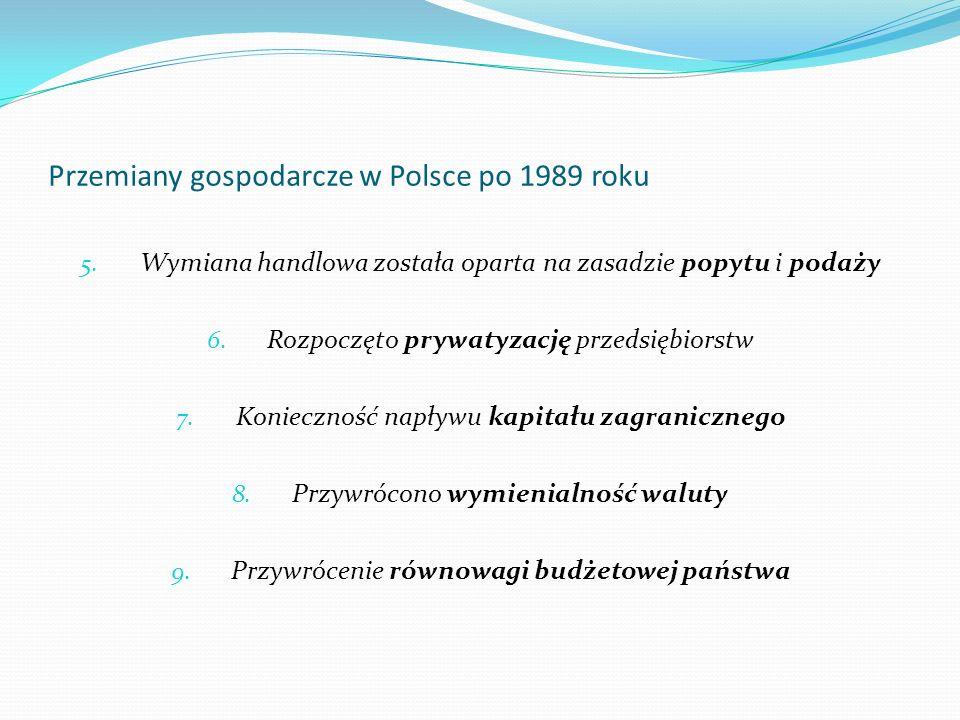 Przemiany gospodarcze w Polsce po 1989 roku 5. Wymiana handlowa została oparta na zasadzie popytu i podaży 6. Rozpoczęto prywatyzację przedsiębiorstw
