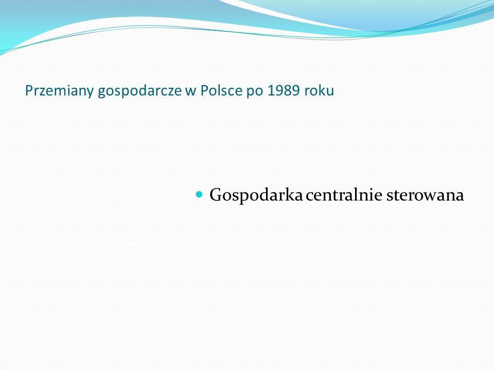 Przemiany gospodarcze w Polsce po 1989 roku Po zakończeniu II wojny światowej Polska znalazła się w strefie wpływów Związku Radzieckiego, który to przejął w naszym kraju władzę na ponad pół wieku W państwie rządzonym przez Polską Zjednoczoną Partię Robotniczą (PZPR) zaczęto odwzorowywać wszelkie formy organizacji państwa – w tym gospodarcze – jakie stworzył Związek Socjalistycznych Republik Radzieckich (ZSRR)