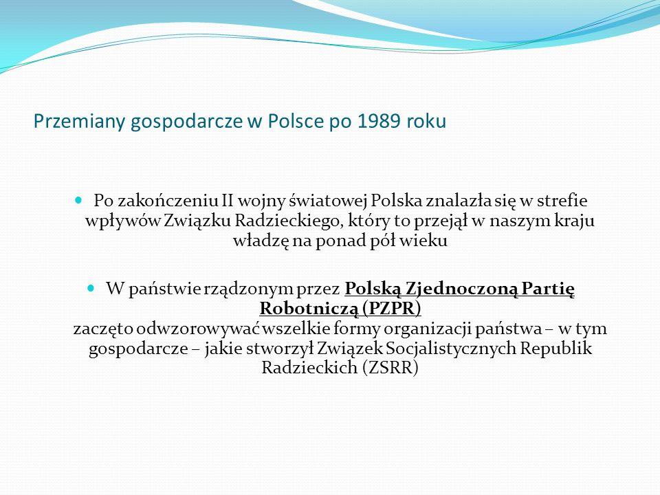 Przemiany gospodarcze w Polsce po 1989 roku Po zakończeniu II wojny światowej Polska znalazła się w strefie wpływów Związku Radzieckiego, który to prz