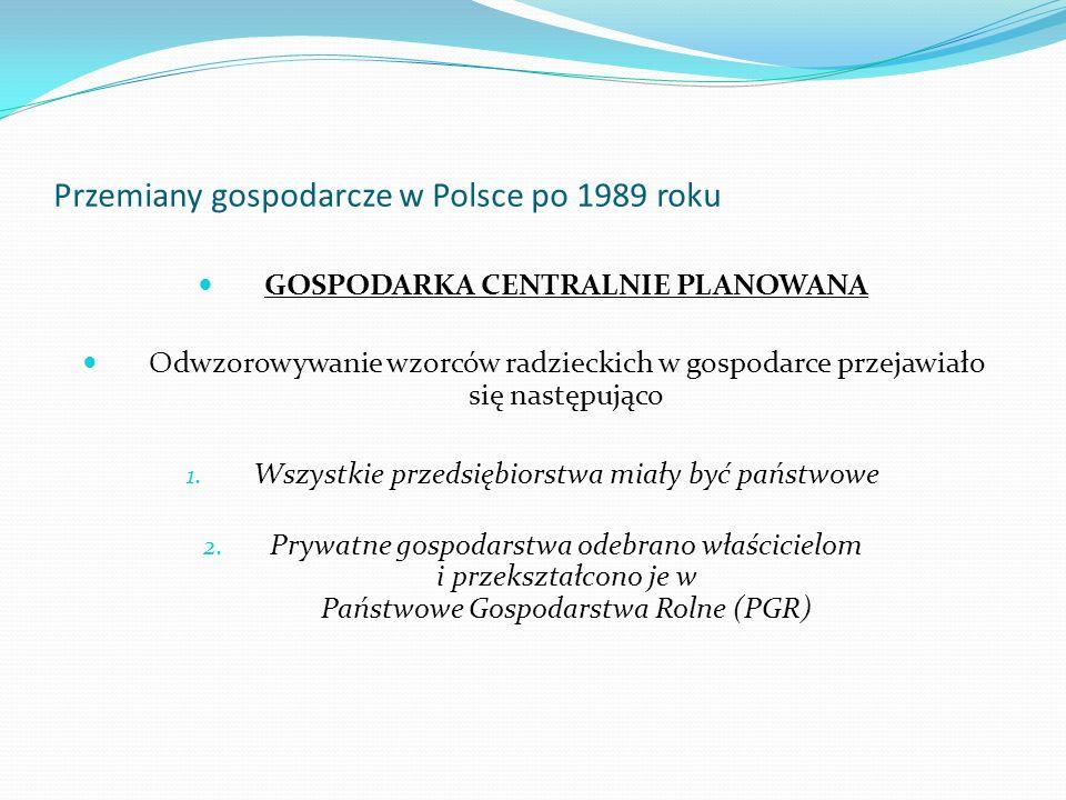 Przemiany gospodarcze w Polsce po 1989 roku GOSPODARKA CENTRALNIE PLANOWANA Odwzorowywanie wzorców radzieckich w gospodarce przejawiało się następując