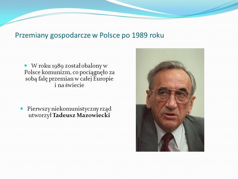 Przemiany gospodarcze w Polsce po 1989 roku W roku 1989 został obalony w Polsce komunizm, co pociągnęło za sobą falę przemian w całej Europie i na świ