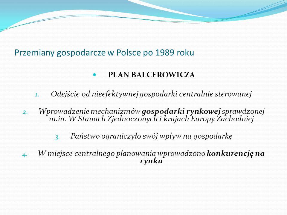 Przemiany gospodarcze w Polsce po 1989 roku PLAN BALCEROWICZA 1. Odejście od nieefektywnej gospodarki centralnie sterowanej 2. Wprowadzenie mechanizmó