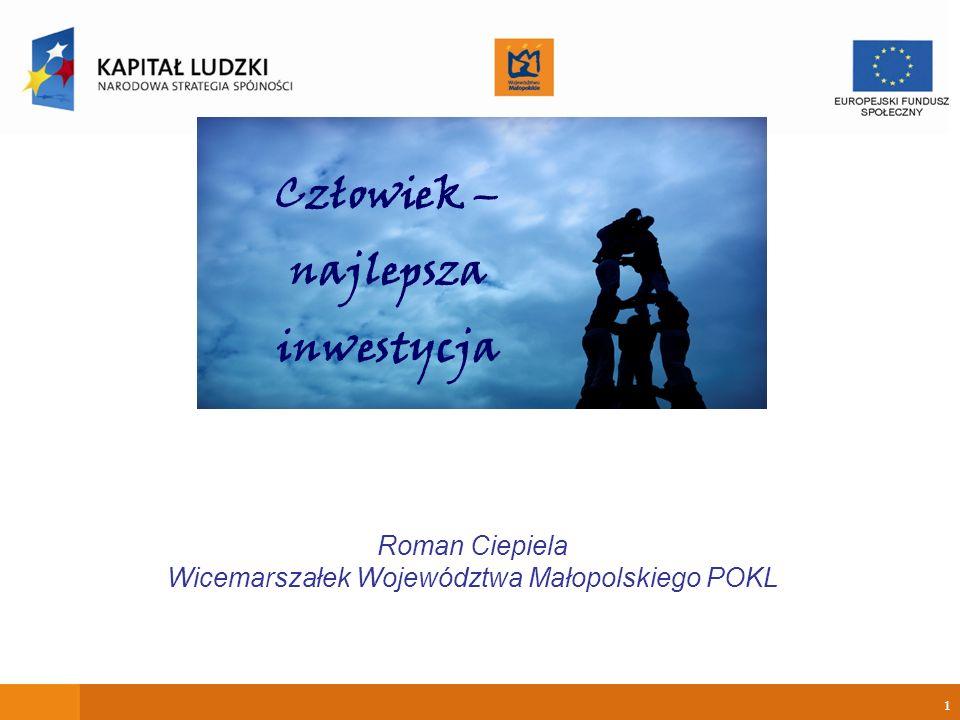 1 Roman Ciepiela Wicemarszałek Województwa Małopolskiego POKL Człowiek – najlepsza inwestycja