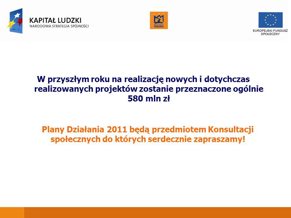 W przyszłym roku na realizację nowych i dotychczas realizowanych projektów zostanie przeznaczone ogólnie 580 mln zł Plany Działania 2011 będą przedmiotem Konsultacji społecznych do których serdecznie zapraszamy!