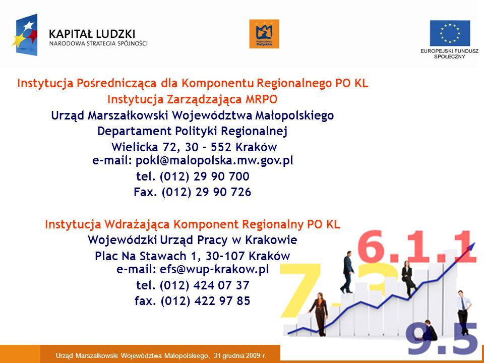11 Instytucja Pośrednicząca dla Komponentu Regionalnego PO KL Instytucja Zarządzająca MRPO Urząd Marszałkowski Województwa Małopolskiego Departament Polityki Regionalnej Wielicka 72, 30 - 552 Kraków e-mail: pokl@malopolska.mw.gov.pl tel.