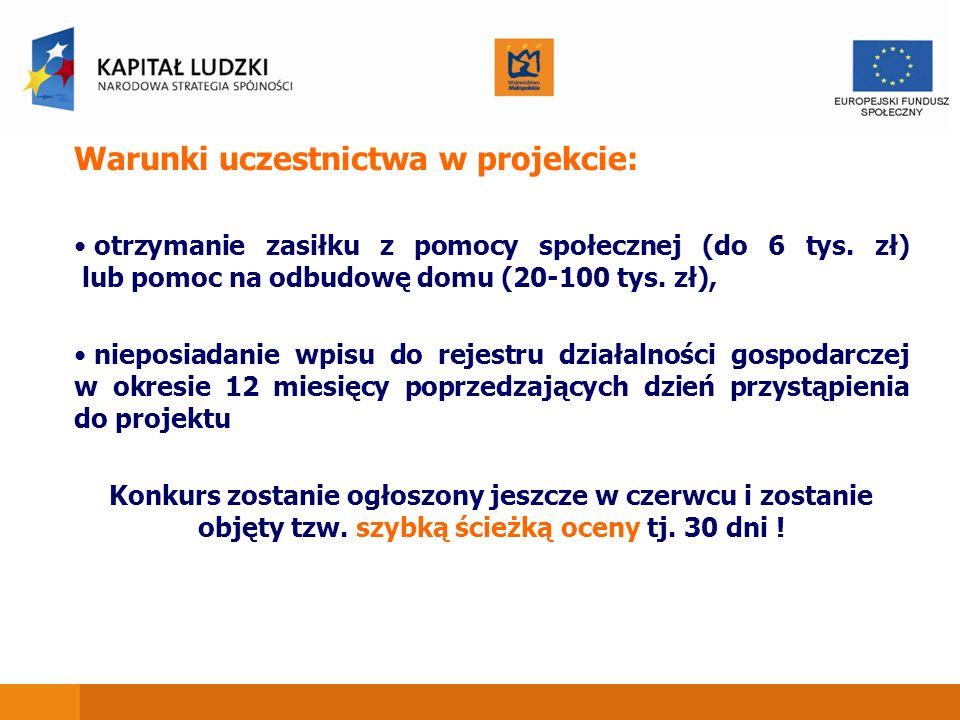 Warunki uczestnictwa w projekcie: otrzymanie zasiłku z pomocy społecznej (do 6 tys. zł) lub pomoc na odbudowę domu (20-100 tys. zł), nieposiadanie wpi