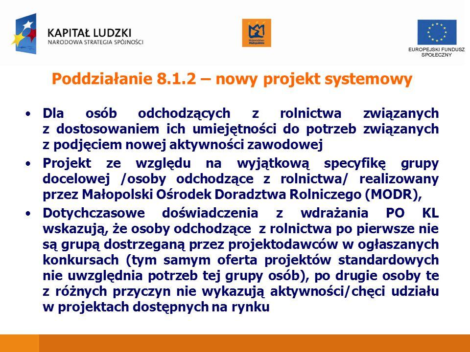 Poddziałanie 8.1.2 – nowy projekt systemowy Dla osób odchodzących z rolnictwa związanych z dostosowaniem ich umiejętności do potrzeb związanych z podj