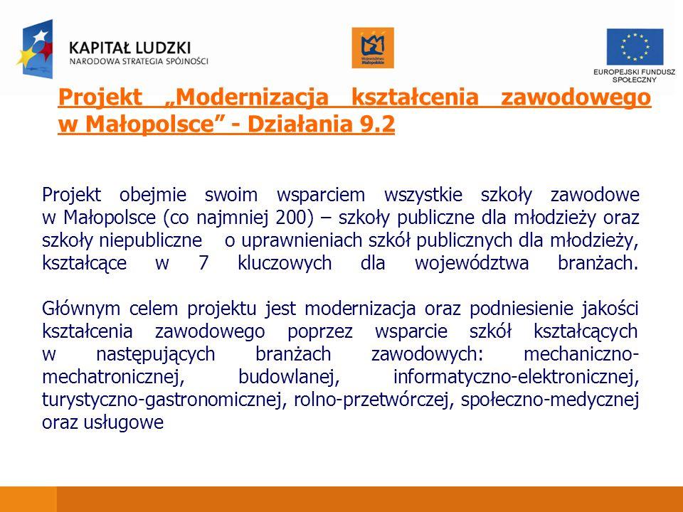 Projekt obejmie swoim wsparciem wszystkie szkoły zawodowe w Małopolsce (co najmniej 200) – szkoły publiczne dla młodzieży oraz szkoły niepubliczne o u