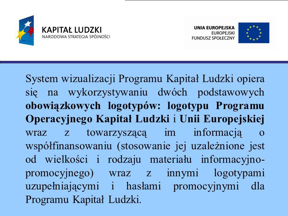 System wizualizacji Programu Kapitał Ludzki opiera się na wykorzystywaniu dwóch podstawowych obowiązkowych logotypów: logotypu Programu Operacyjnego K