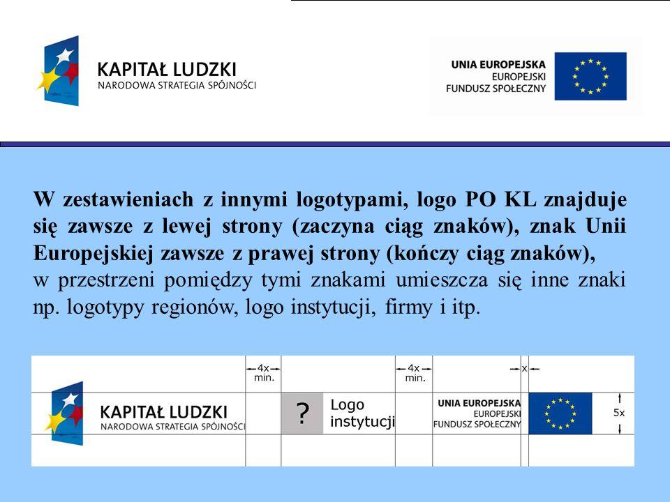 W zestawieniach z innymi logotypami, logo PO KL znajduje się zawsze z lewej strony (zaczyna ciąg znaków), znak Unii Europejskiej zawsze z prawej stron
