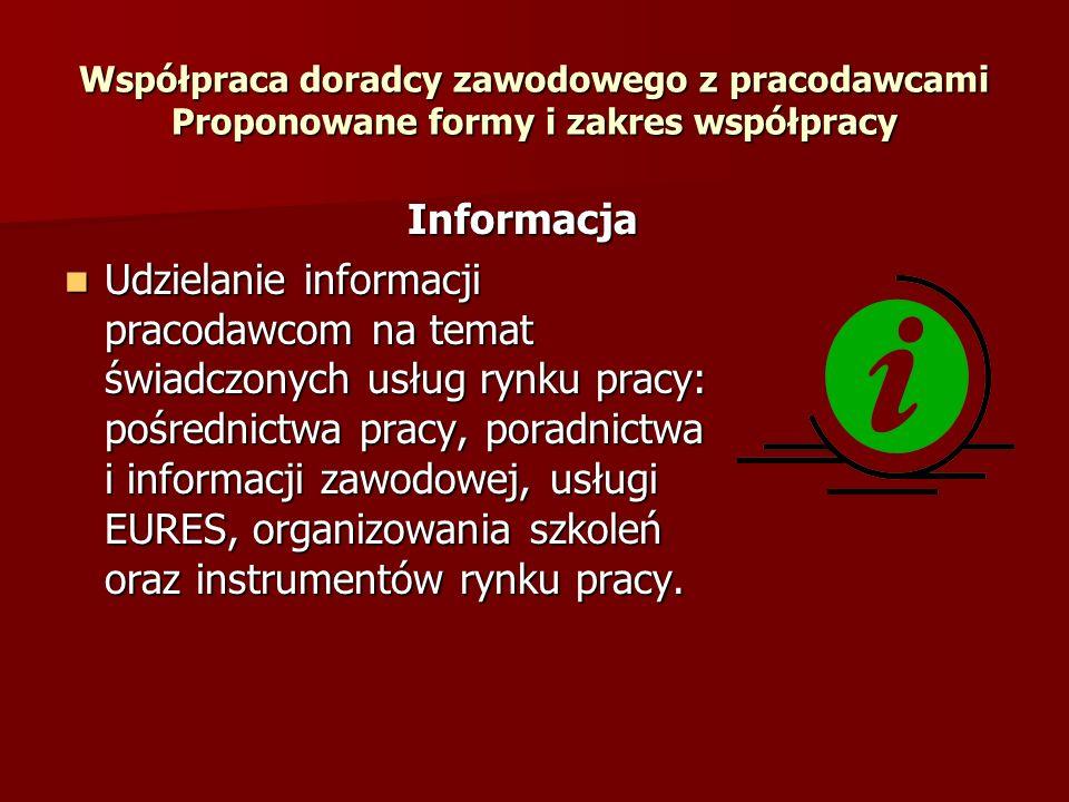 Współpraca doradcy zawodowego z pracodawcami Proponowane formy i zakres współpracy Informacja Informacja Udzielanie informacji pracodawcom na temat św