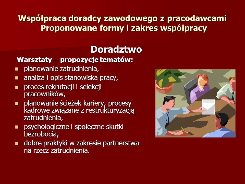 Współpraca doradcy zawodowego z pracodawcami Proponowane formy i zakres współpracy Doradztwo Doradztwo Warsztaty propozycje tematów: Warsztaty propozy