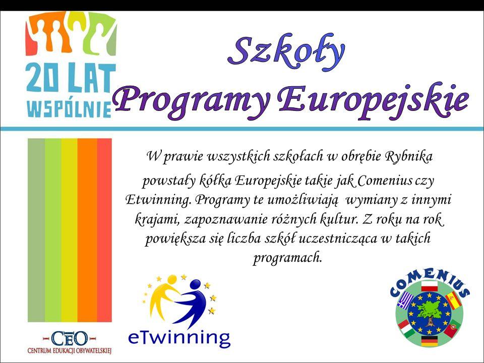 W prawie wszystkich szkołach w obrębie Rybnika powstały kółka Europejskie takie jak Comenius czy Etwinning. Programy te umożliwiają wymiany z innymi k