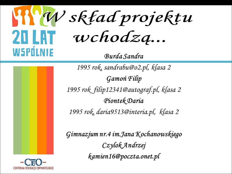 Burda Sandra 1995 rok, sandrabu@o2.pl, klasa 2 Gamoń Filip 1995 rok filip12341@autograf.pl, klasa 2 Piontek Daria 1995 rok, daria9513@interia.pl, klas