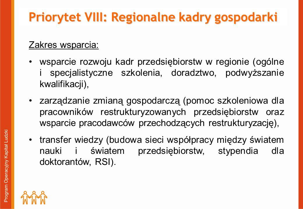 Priorytet VIII: Regionalne kadry gospodarki Zakres wsparcia: wsparcie rozwoju kadr przedsiębiorstw w regionie (ogólne i specjalistyczne szkolenia, doradztwo, podwyższanie kwalifikacji), zarządzanie zmianą gospodarczą (pomoc szkoleniowa dla pracowników restrukturyzowanych przedsiębiorstw oraz wsparcie pracodawców przechodzących restrukturyzację), transfer wiedzy (budowa sieci współpracy między światem nauki i światem przedsiębiorstw, stypendia dla doktorantów, RSI).