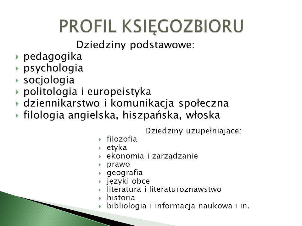 Dziedziny podstawowe: pedagogika psychologia socjologia politologia i europeistyka dziennikarstwo i komunikacja społeczna filologia angielska, hiszpań