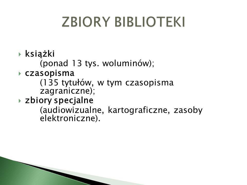 książki (ponad 13 tys. woluminów); czasopisma (135 tytułów, w tym czasopisma zagraniczne); zbiory specjalne (audiowizualne, kartograficzne, zasoby ele