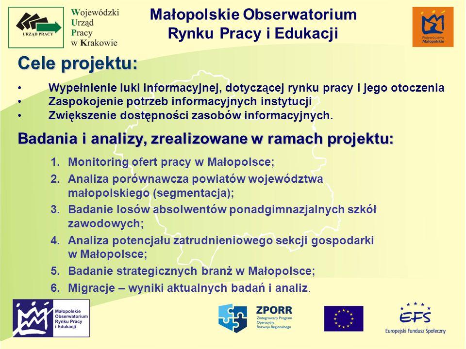 Cele projektu: Wypełnienie luki informacyjnej, dotyczącej rynku pracy i jego otoczenia Zaspokojenie potrzeb informacyjnych instytucji Zwiększenie dost