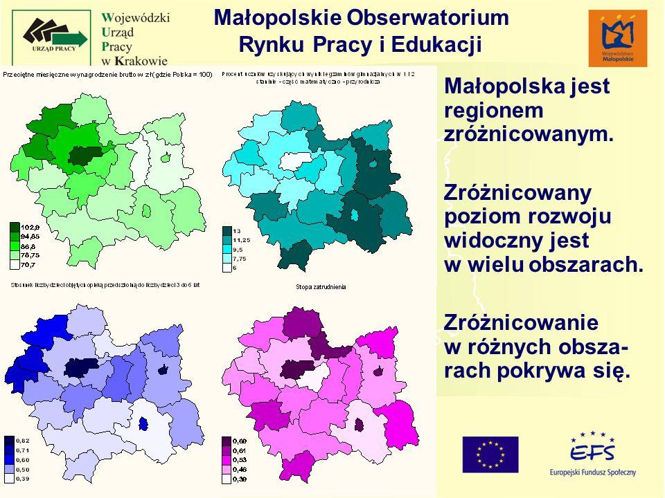 - wielkomiejski Nowy Sącz, Tarnów Kraków - sąsiedzki krakowski, wielicki, proszowicki, miechowski, zakopiański, nowotarski - płd-wschodni gorlicki, limanowski, nowosądecki - przemysłowy chrzanowski, oświęcimski, olkuski - rolniczy brzeski, tarnowski, dąbrowski - centralno-zachodni myślenicki, wadowicki, bocheński, suski Małopolskie Obserwatorium Rynku Pracy i Edukacji