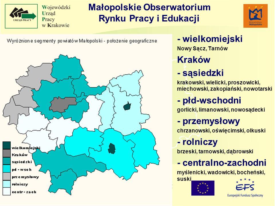 Badanie strategicznych branż w Małopolsce -Analiza potencjału zatrudnieniowego sekcji w Małopolsce -Najdynamiczniej rozwijającymi się branżami w Małopolsce z punktu widzenia rynku pracy w latach 2001-2005 były: SekcjaDziałNazwa H55hotele i restauracje K70obsługa nieruchomości 71wynajem maszyn i urządzeń bez obsługi 72informatyka 73działalność badawczo-rozwojowa 74działalność gospodarcza pozostała O90odprowadzanie i oczyszczanie ścieków, gospodarowanie odpadami 91działalność organizacji członkowskich, gdzie indziej niesklasyfikowana 92działalność związana z kulturą, rekreacją i sportem 93działalność usługowa pozostała H – Hotele i restauracje K - Obsługa nieruchomości, wynajem i usługi związane z prowa- dzeniem działalności gospodarczej O - Działalność usługowa komunalna, społeczna i indywidualna