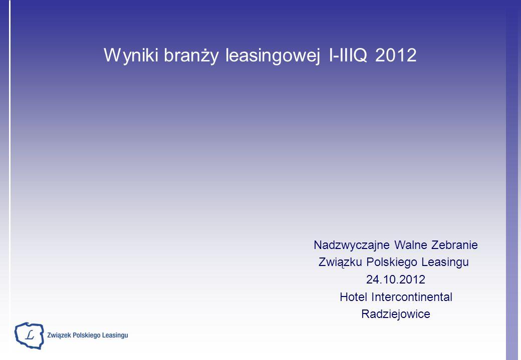 Wyniki branży leasingowej I-IIIQ 2012 Nadzwyczajne Walne Zebranie Związku Polskiego Leasingu 24.10.2012 Hotel Intercontinental Radziejowice