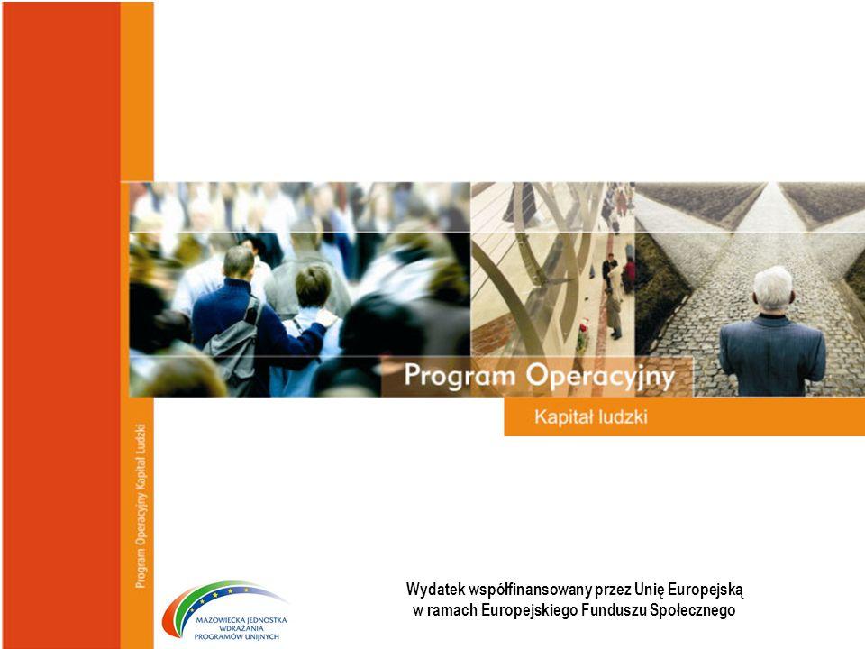 Wydział Szkoleń Beneficjentów Mazowieckiej Jednostki Wdrażania Programów Unijnych Wydatek współfinansowany przez Unię Europejską w ramach Europejskiego Funduszu Społecznego