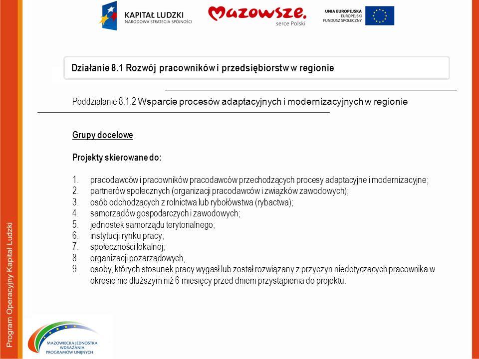 Działanie 8.1 Rozwój pracowników i przedsiębiorstw w regionie Poddziałanie 8.1.2 Wsparcie procesów adaptacyjnych i modernizacyjnych w regionie Grupy d