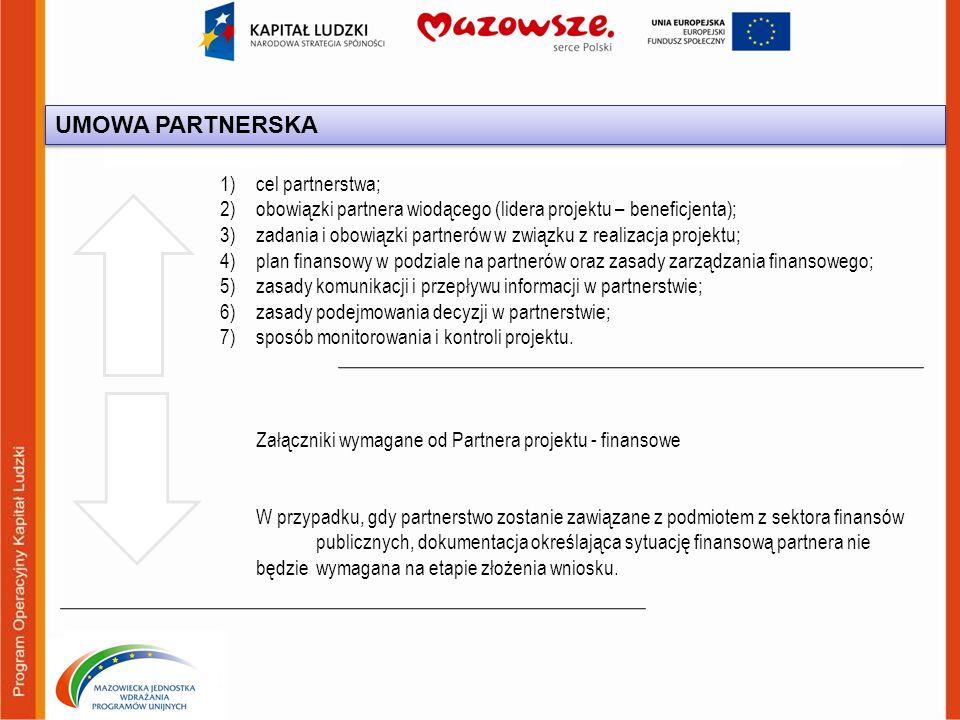 1)cel partnerstwa; 2)obowiązki partnera wiodącego (lidera projektu – beneficjenta); 3)zadania i obowiązki partnerów w związku z realizacja projektu; 4