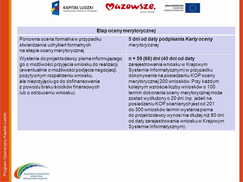 Etap oceny merytorycznej Ponowna ocena formalna w przypadku stwierdzenia uchybień formalnych na etapie oceny merytorycznej 5 dni od daty podpisania Ka