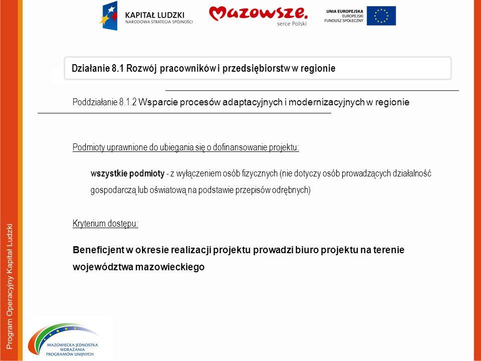 Działanie 8.1 Rozwój pracowników i przedsiębiorstw w regionie Poddziałanie 8.1.2 Wsparcie procesów adaptacyjnych i modernizacyjnych w regionie Podmiot