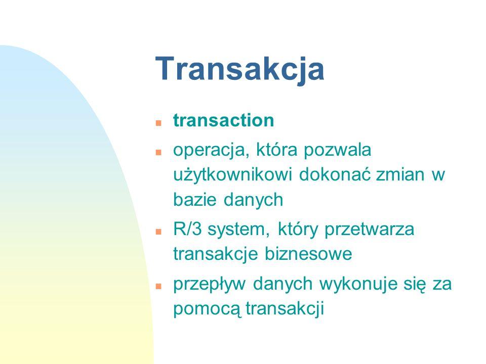 Transakcja n transaction n operacja, która pozwala użytkownikowi dokonać zmian w bazie danych n R/3 system, który przetwarza transakcje biznesowe n pr