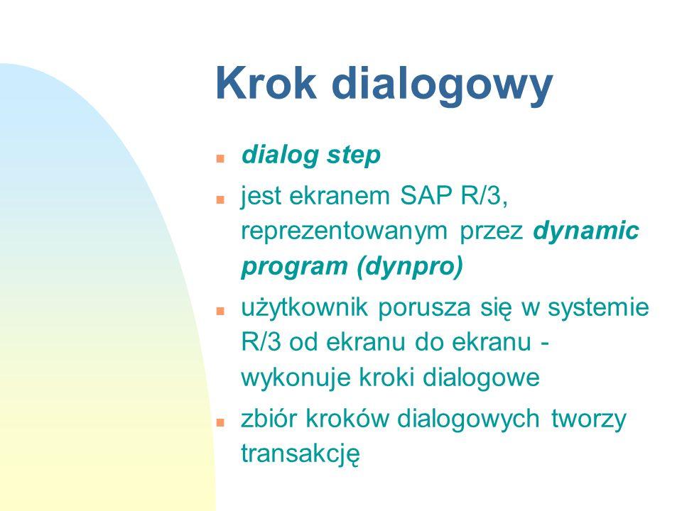 Krok dialogowy n dialog step n jest ekranem SAP R/3, reprezentowanym przez dynamic program (dynpro) n użytkownik porusza się w systemie R/3 od ekranu