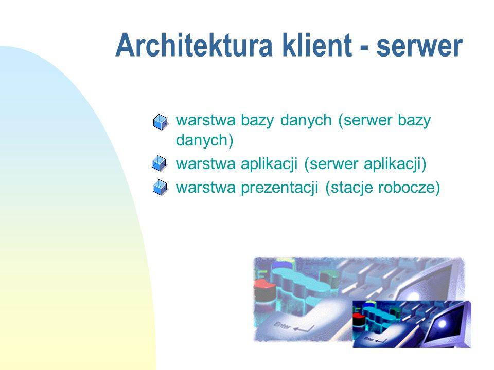Architektura klient - serwer n warstwa bazy danych (serwer bazy danych) n warstwa aplikacji (serwer aplikacji) n warstwa prezentacji (stacje robocze)
