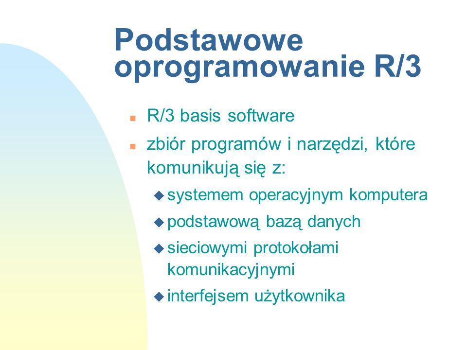 Podstawowe oprogramowanie R/3 n R/3 basis software n zbiór programów i narzędzi, które komunikują się z: u systemem operacyjnym komputera u podstawową