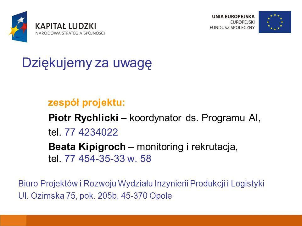 Dziękujemy za uwagę zespół projektu: Piotr Rychlicki – koordynator ds.